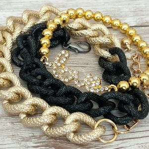 Pave Love Beaded & wrapped chain bracelet set